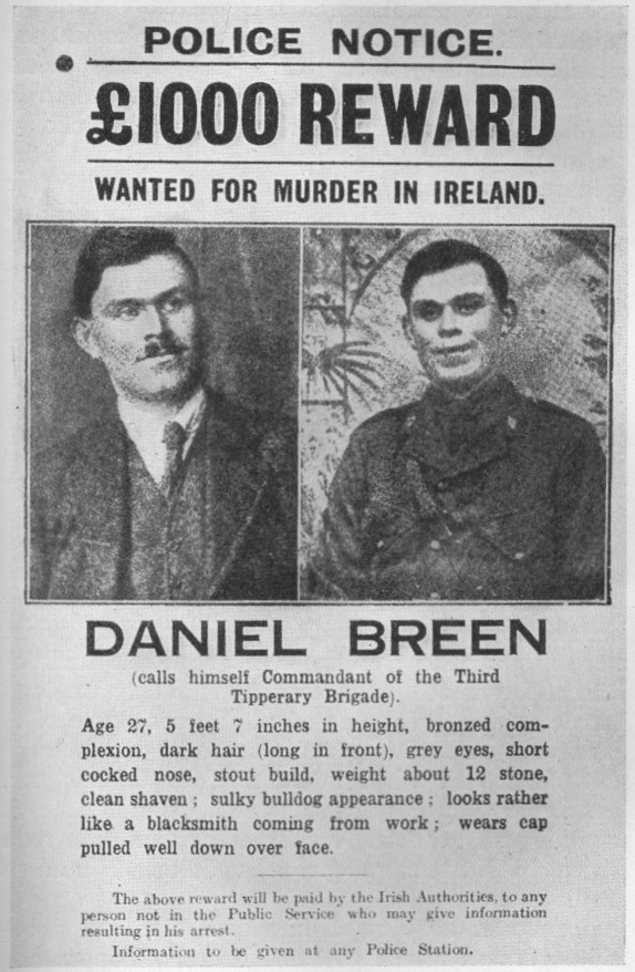 Historical wanted poster for Daniel Breen